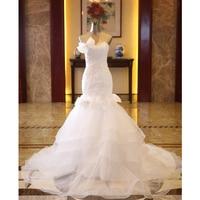 Beleza Emily Appliquse Laço Branco Sereia Vestidos de Casamento 2017 Pérolas Lantejoulas Querida Lace Up da Festa de Casamento Nupcial Prom Vestidos