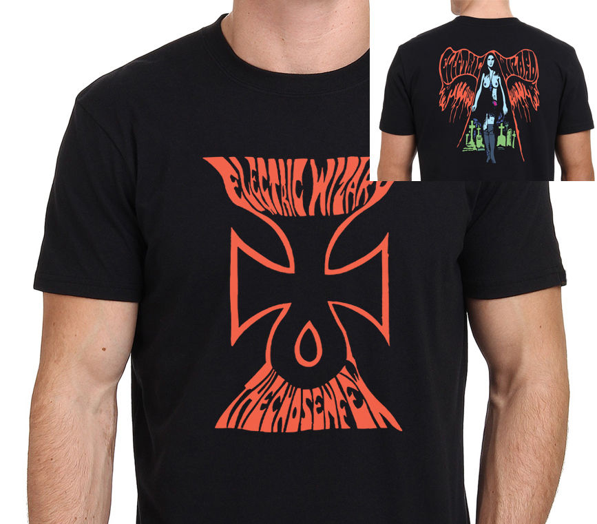 Electric wizard logo graphic t shirt men 39 s black size s to for Wizard t shirt printing