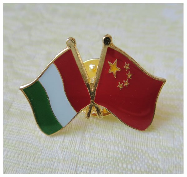25.4mm Italy&China Firendship Pin Made by Iron with Painted and Epoxy Surface MOQ 300pcs Also As Client Request Free Shipping