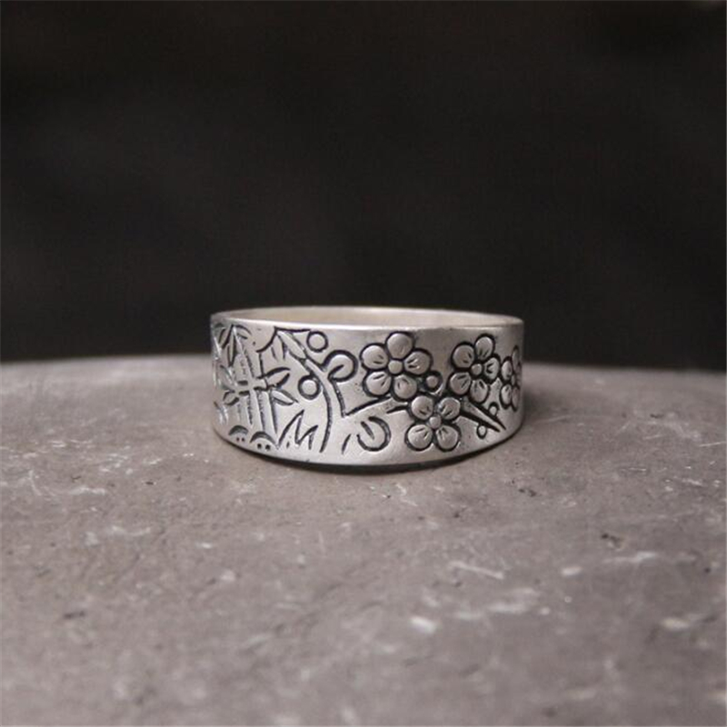 Pure 990 Sterling Silver Rings Flower Pattern New Fashion 100% S990 Solid Ring for Women Men Jewelry
