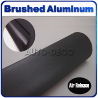 1 52 30m Roll Black Brushed Aluminum Metal Vinyl Film For Car Diy Styling Wrap Free