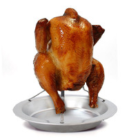 Outdoor Non Stick Chicken Roaster Rack Upright Thicker Removable Barbecue Baked Chicken Rack