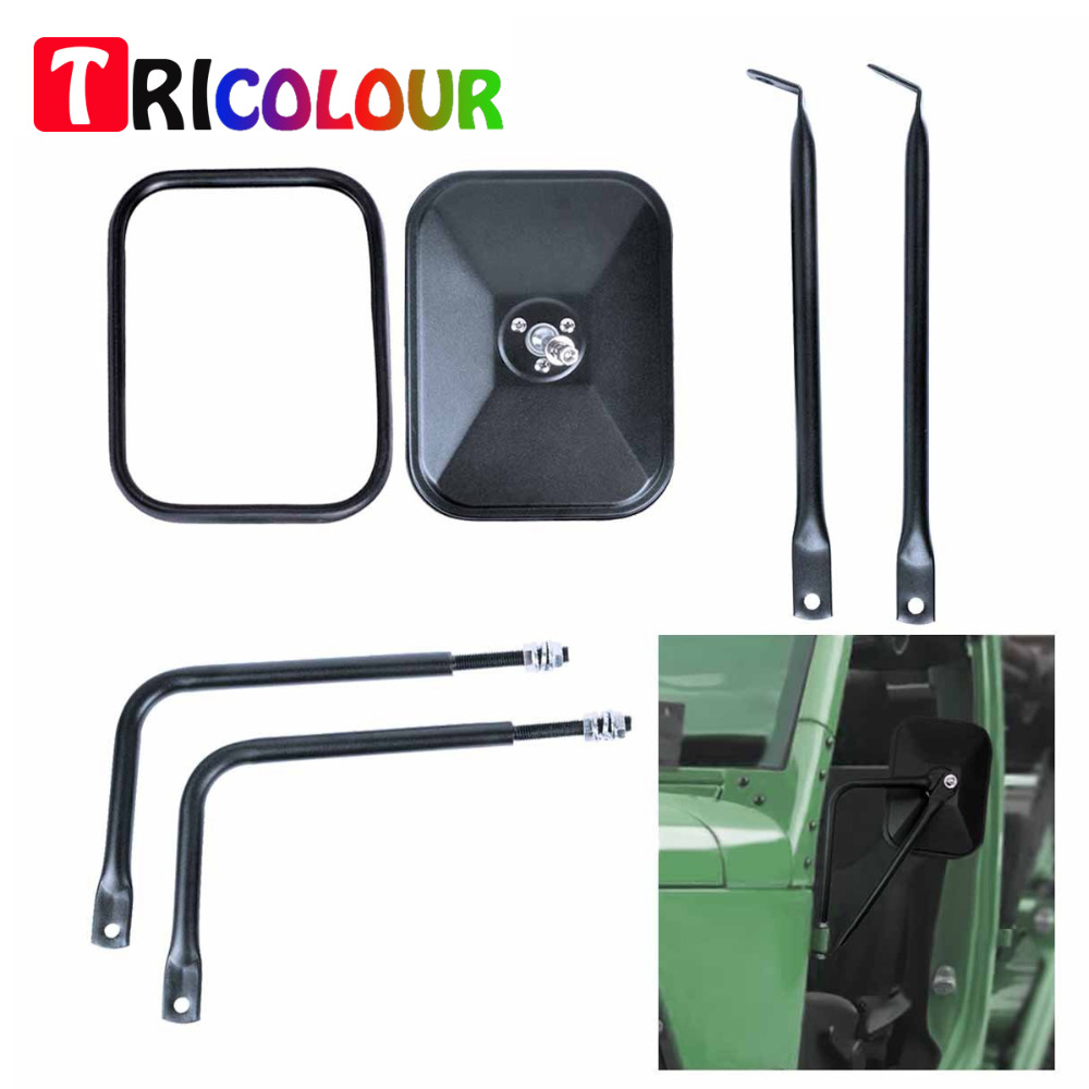 TRICOLOUR 2x Shake-proof Rectangular Adventure Mirrors Side View Door Mirror For All Jeep Wrangler JK CJ YJ TJ #LQ470 door hinge mirror for jeep wrangler jk sport x sahara unlimited rubicon bolt on quick release mirror pair rectangular cek094
