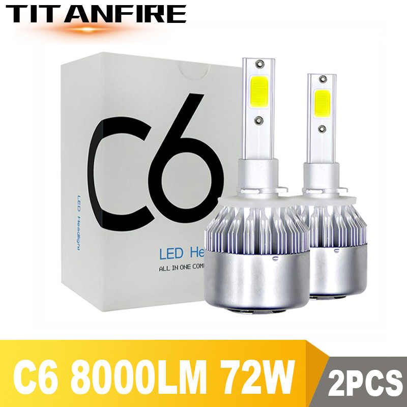 TF30 2Pcs/lot C6 LED Headlights Bulbs Conversion Kit Lights 72W 8000LM H1 H3 H4 H7 HB3 HB4 9004 9005 Auto COB Car 6500K