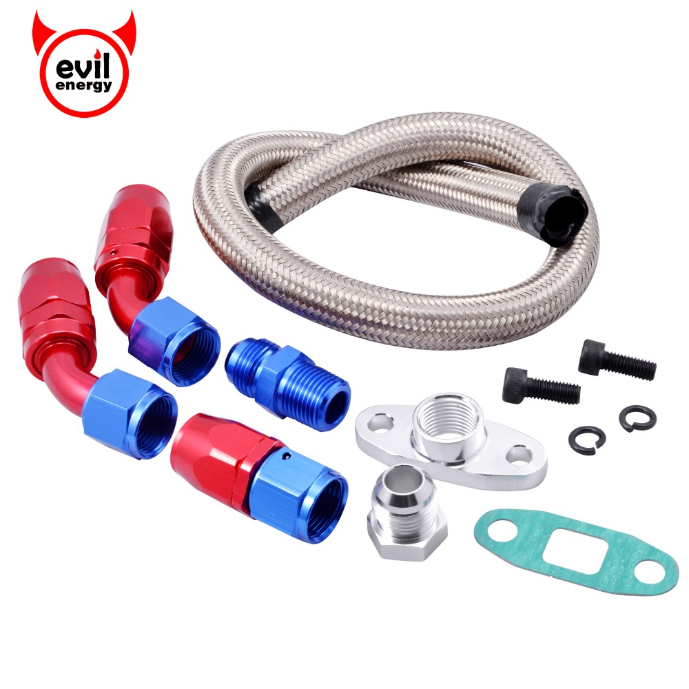 Good 10an Turbo Steel Braided Turbo Oil Feed Line Return Drain Kit An10 Swivel Hose Adapter T3 T4 T04e T70 T60 T61 Auto Replacement Parts Fuel Supply & Treatment