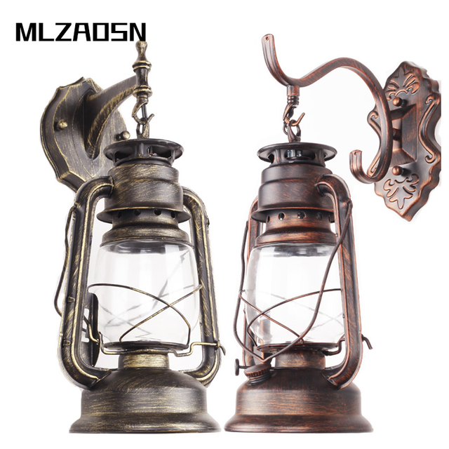 MLZAOSN LED Antique Lanterne Vintage Kéros¨ne Lampe Balcon Intérieur