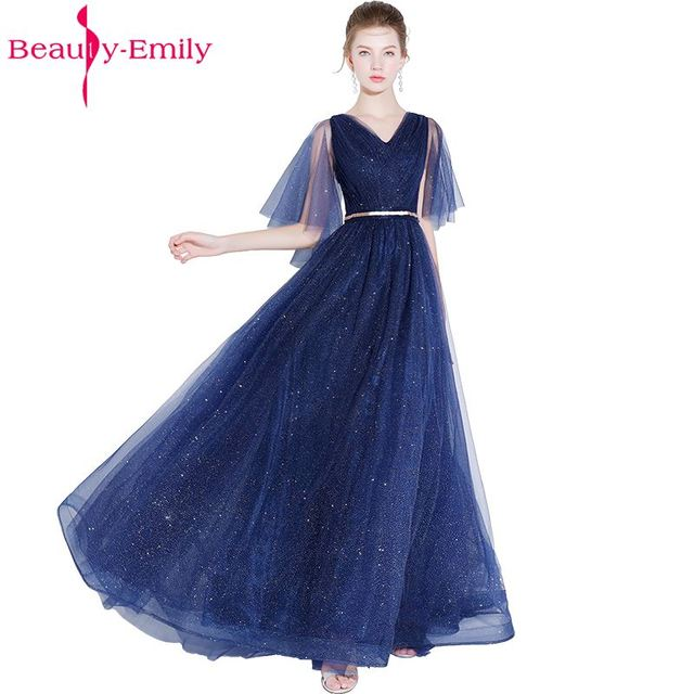 0005287d04c Beauty Emily Long A line Sequined Bridesmaid Dresses 2018 Women A-line  Wedding Party Prom Dresses Middle sleeves dress