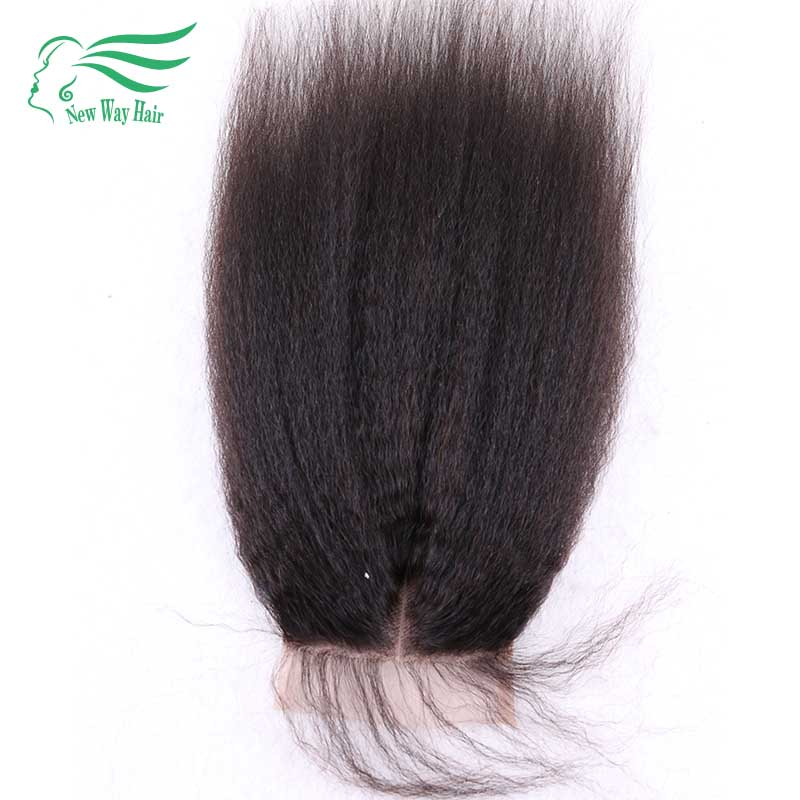 ФОТО 7A Grade 130% Density Kinky Straight Lace Closure Unprocessed Human Hair Free/Middle/Side/Three Part Closures With Baby Hair