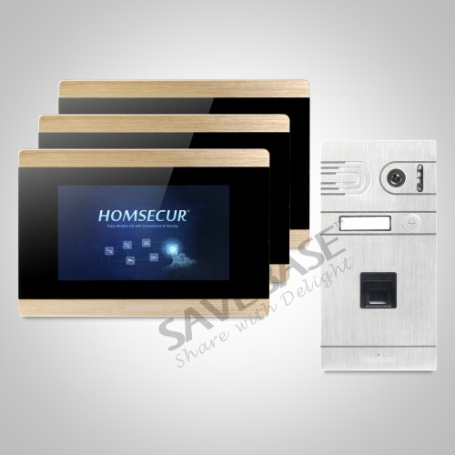HOMSECUR 7 Wired Fingerprint Access Video Door Phone Intercom System Voice Message with Touch Screen Monitor for Apartment