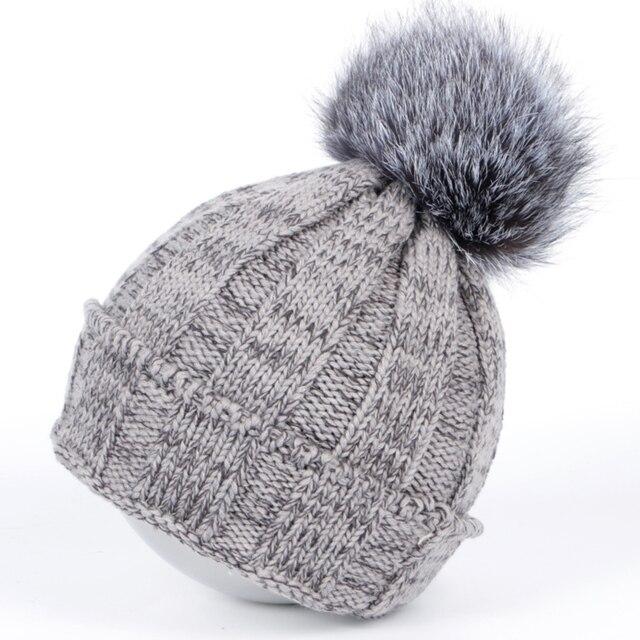2016 Winter hat beanie women knitted cap Skullies & Beanies fur hats