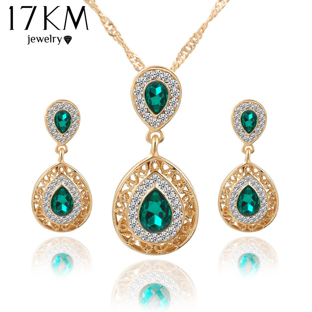 17km women bridal wedding jewelry set charm crystal water for Decor jewelry