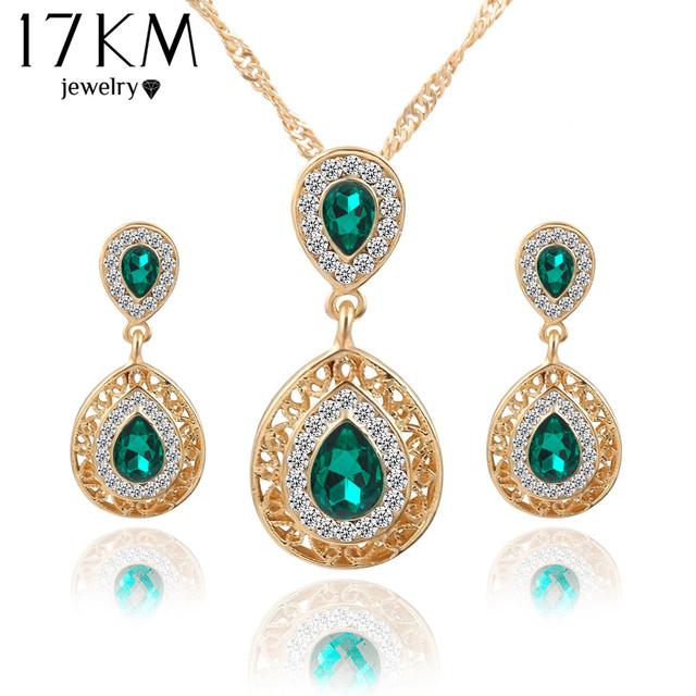 Women bridal Wedding Jewelry Set Charm Crystal Water Drop Pendant Necklaces Earrings Sets Shininy Cubic Zircon bijoux femme 2015