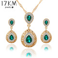 Women bridal Wedding Jewelry Sets Charm Crystal Water Drop Pendant Necklaces Earrings Sets Shininy Zircon bijoux femme 2015