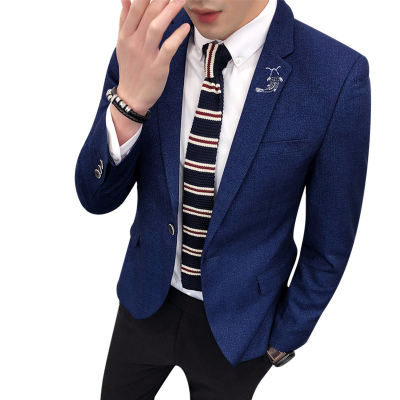 Mens Blazer And Suit Jacket Casual New 2018 Slim Fit Single Button Poly Viscose Blazer Korean Fish Embroidery Lapel Drop Ship