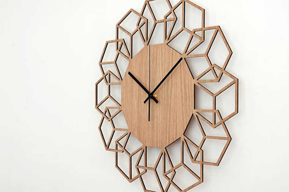 Reloj de pared de madera reloj minimalista diseño geométrico reloj colgante Reloj de pared decoración de sala de estar Reloj de pared arte decoración de dormitorio