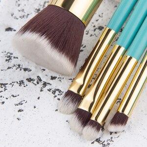 Image 3 - Anmor 9 Pcs סינטטי שיער איפור מברשות סט עם תיק נסיעה איפור מברשת לבסיס אבקה קונטור צלליות מוצרים