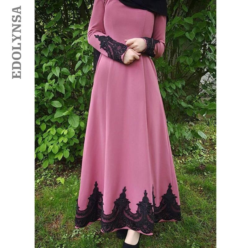 2019 Abaya Caftans For Women Pink Lace Embroidery Muslim Dress Long Islamic Skirts Muslim Tunic Moroccan