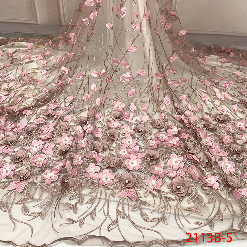 Lace-Fabric Nigerian French With Stones For Bridal-Ks2113b-5 Embroidery Beaded Tulle