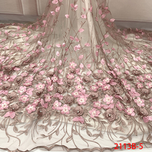 3D Laces 2019 High Quality, Beaded Nigerian Lace Fabric 2018, Embroidery French Tulle Lace with Stones for Bridal KS2113B-5