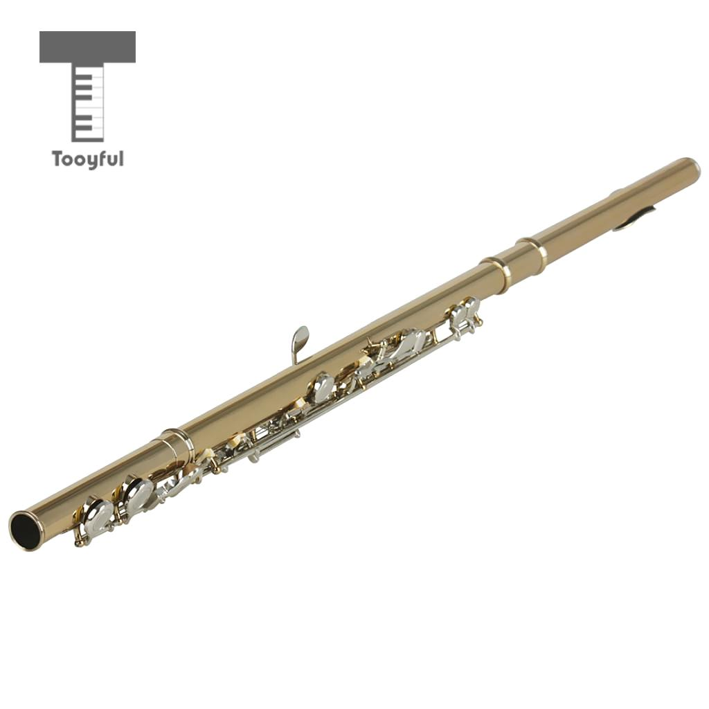 SLADE 16 Closed Hole 17 Key Gold C Flute Set with Silver Key for Music Lovers slade house