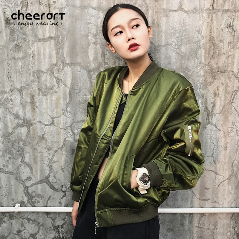 Cheerart Baseball Jacket Coat Women Autumn Basic Coats Zipper Green Red Velvet Loose Bomber Jacket Fashion Overcoat