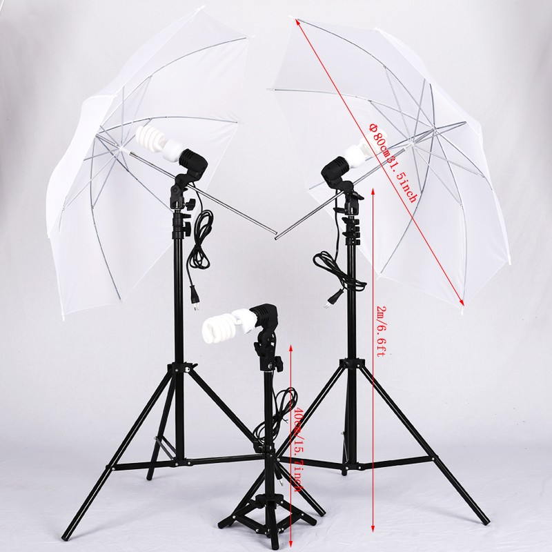 2*Photography Studio Flash Translucent White soft Umbrella With 2m light stand And bulb&40cm light stand With bulb