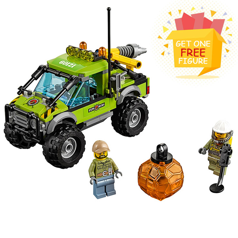 Bela Pogo Compatible Legoe City Urban Volcano Exploration Truck Geological Prospect Building Blocks Bricks toys for children lepin pogo bela 10646 urban city fishing boat building blocks bricks compatible legoe toys gifts for children model