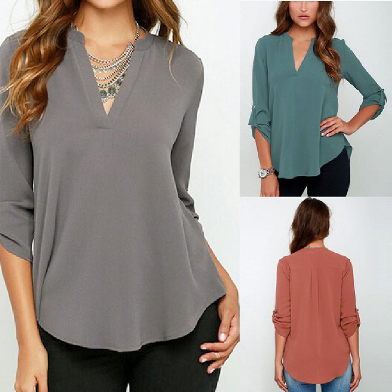 HTB1qg5ZCqSWBuNjSsrbq6y0mVXaL - Autumn Women V-neck Chiffon Blouse 3/4 Sleeve Female Solid Casual Shirt Large Size Feminina Camisas Blusas Plus Size