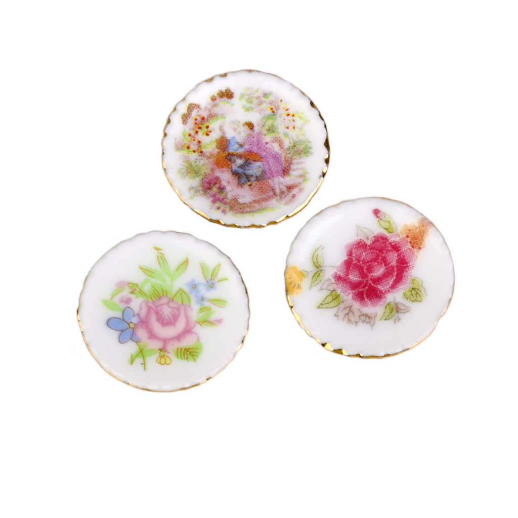 New 1/12 Dollhosue Miniature 3PCS Modern Ceramic China Porcelain Colorful Plates Doll House Kitchen Decor Dolls Access Kids Toy