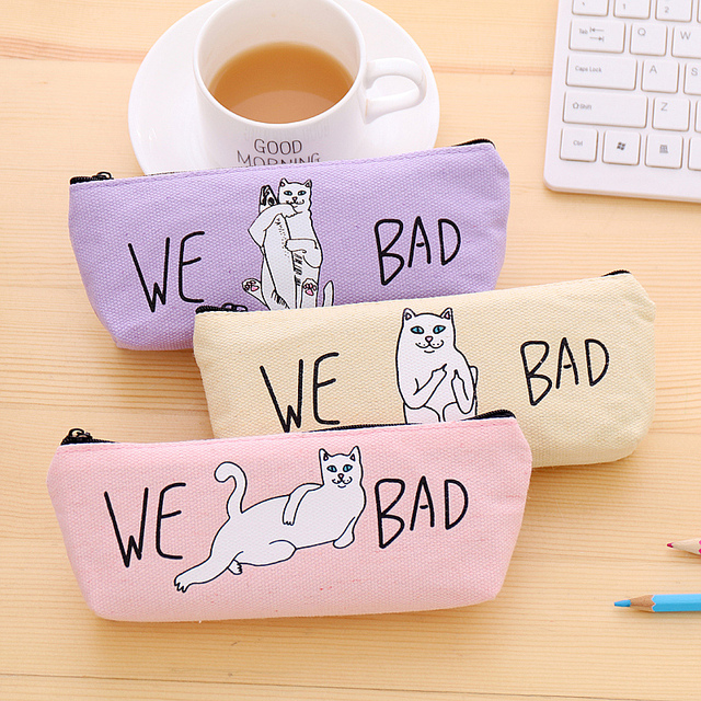 1pcs Flamingos Cactus Pencil Case Canvas School Supplies Kawaii Stationery Estuches Chancery School Cute Pencil Box Pen Bags