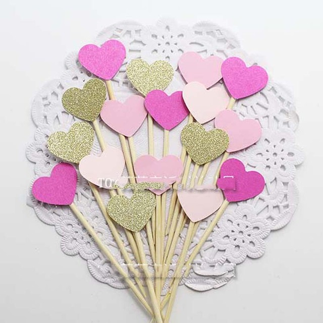 Colorful Heart Design Party Cupcake Toppers Decoration For Kids Birthday Favors Supplies Wedding Cake