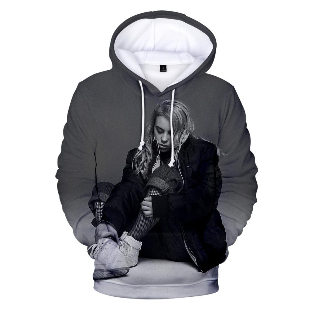 2019 Spring Billie Eilish Hoodie Print Hooded Women Men Sweatshirt Clothes Harajuku Casual Hot Sale Hoodies Kpop Sweatshirts