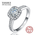 Classic Solid Silver Bride Wedding Rings for Women Inlay 1 Carat CZ Diamond Engagement Ring 925 Sterling Silver Jewelry HMR035