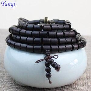 Buddhist 108 Natural ebony Barrel Beaded Buddha Multilayer 6-8mm Stupa Black Charm Bracelets For Men Authentic Wood Bracelet(China)