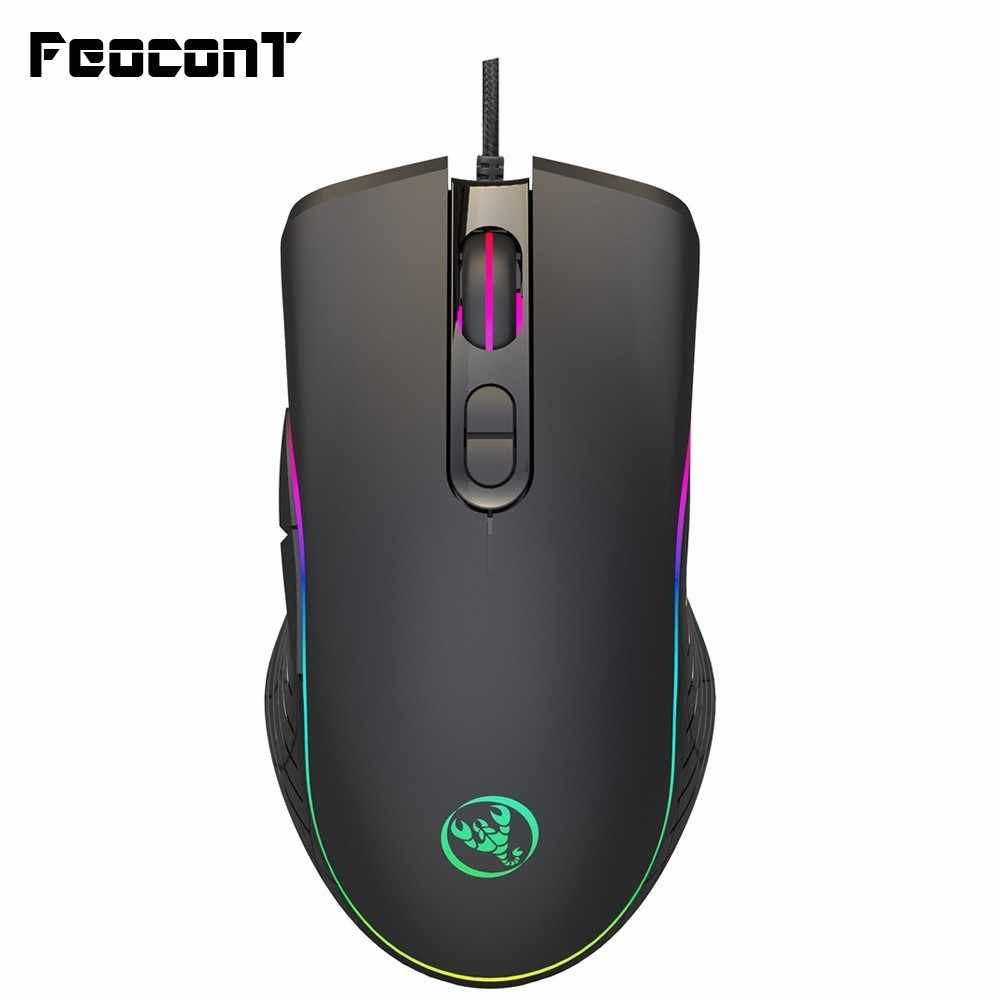 Gaming Mouse Kabel 6400 Dpi 4 Level Disesuaikan Mouse Gamer 7 Tombol LED RGB Warna Backlit Opto-elektronik mouse untuk PC Pro Gamer