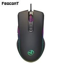 Mouse de jogo com fio 6400dpi, 4 níveis, ajustável, mouse gamer, 7 botões, rgb, led, cor retroiluminada, opto-eletrônico mouse para pc pro gamer