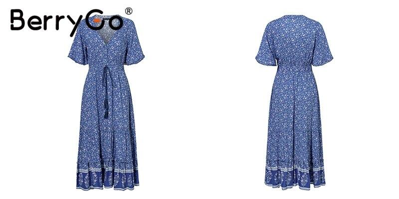 BerryGo women dresses Bohemian dresses print summer dress Short sleeve ruffled long maxi dress v-neck drawstring ladies vestidos 11