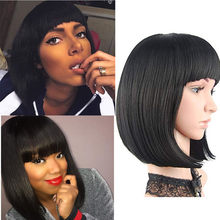 Short Lace Front Human Hair Wigs Brazilian Straight Bob Wig Pre Plucked Hairline With Baby Hair Wigs For Black Women(China)