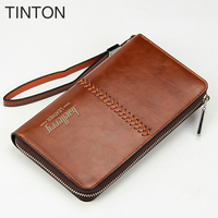 TINTON 2018 New Fashion Leather Men Long Wallet Brand Name Purse Business Card Holder Solid Color