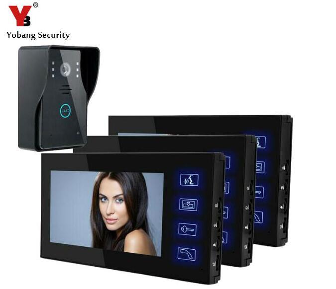 Yobang Security 7 Color Screen Video DoorPhone Video Doorbell Intercom System Door Entry Intercom Systems Video Door Phone