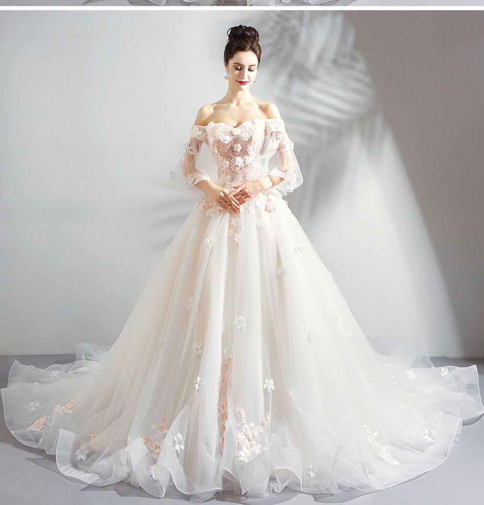 Saudi Arabic 3d Flowers Wedding Dresses Off The Shoulder 2020