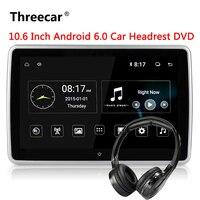 10,6 дюймов Android 6,0 подголовник автомобиля dvd монитор плеер 1920*1080 HD 1080 P видео Сенсорный экран 3g WI FI USB /SD/HDMI/IR/FM/Bluetooth