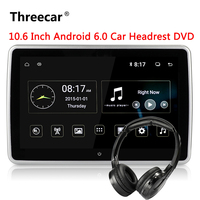 10.6 Inch Android 6.0 Car Headrest DVD Monitor Player 1920*1080 HD 1080P Video Touch Screen 3G WIFI USB/SD/HDMI/IR/FM/Bluetooth