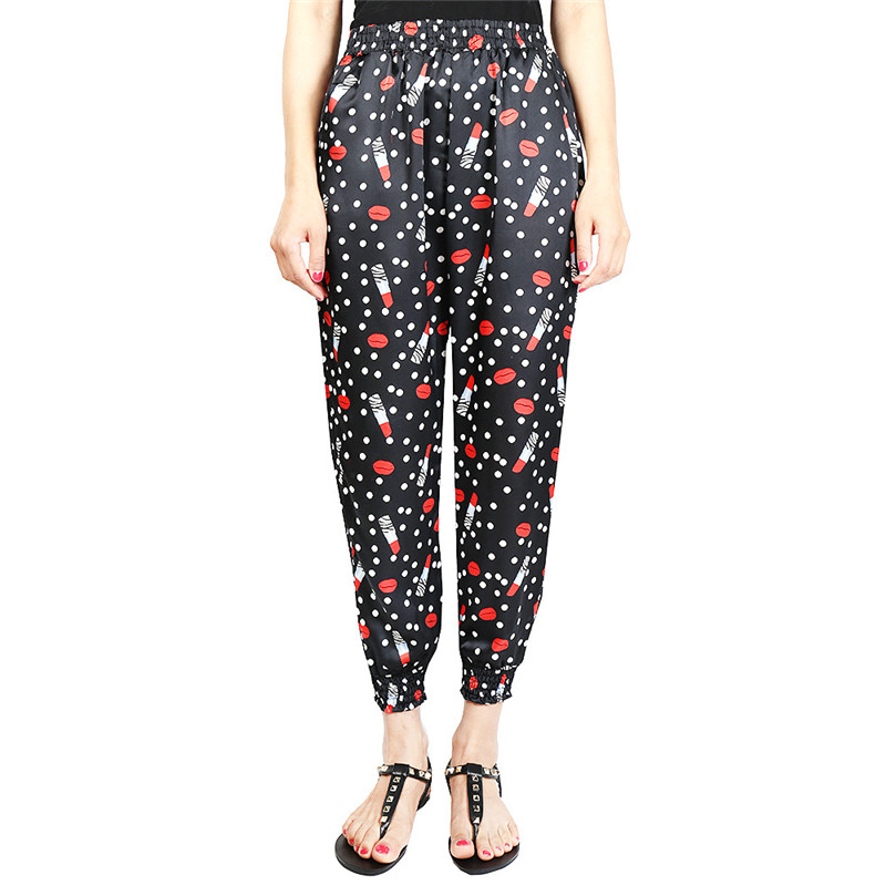 Loose Harem Pant High Waist Show Thin Printed Women's Wear Casual Ankle-Length Trousers Pockets 33