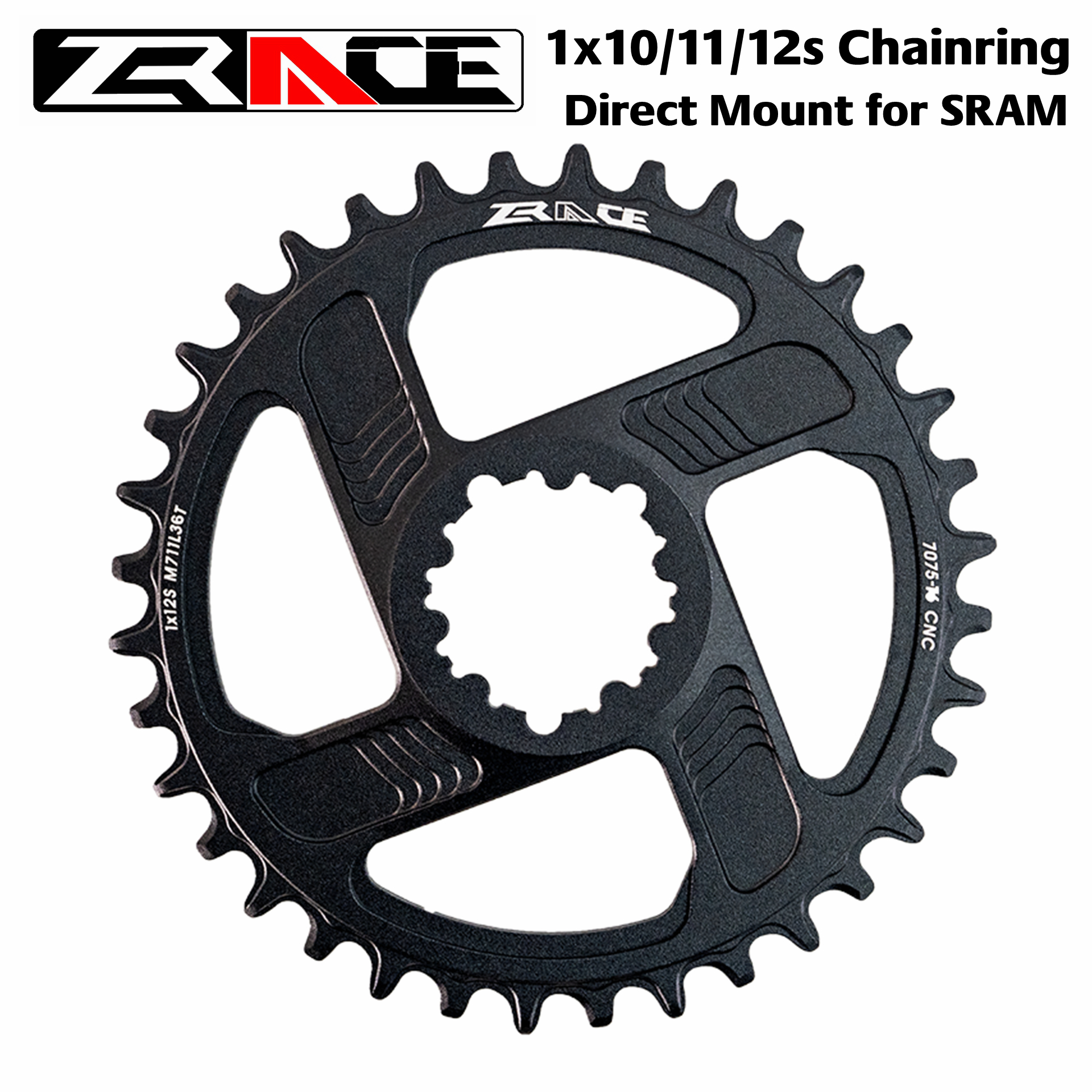 ZRACE 1 x 10s / 11s / 12s Chainrings, 7075AL Vickers-hardness 21, offset 6mm,Narrow Wide MTB Chainwheel, SRAM Direct Mount Crank image