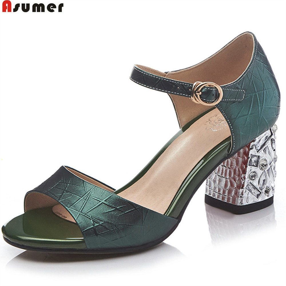 ASUMER Blackish green silver fashion summer ladies shoes peep toe buckle square heel women genuine leather high heels sandals new 2017 spring summer women shoes pointed toe high quality brand fashion womens flats ladies plus size 41 sweet flock t179