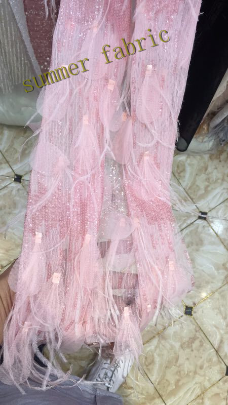 Pink wholesale African French lace fabric High quality feathers tulle fabric big guipure lace borders 5 yards