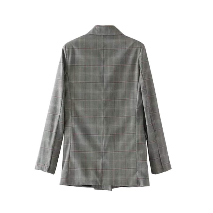 2017 Autumn Winter Double-Breasted Female Suit Jacket long sleeve coat vintage ladies casual brand Plaid casaco doct11