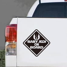купить Art Design BABY JEDI ON BOARD funny reflective Car sticker Windows cute Car decal Auto Safety Warning Stickers Free shipping по цене 132.22 рублей