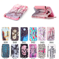 Painting Patterns Lanyard Flip Leather Wallet Phone Case For Samsung Galaxy S7 Case Strap Stand Cover